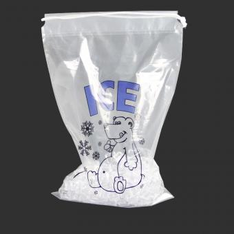 Disposable ice bag with drawstring